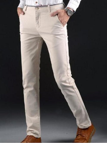 Men's Basic Going out Slim Chinos Pants - Solid Colored Black Khaki Royal Blue 28 / 29 / 30 - FLJ CORPORATIONS