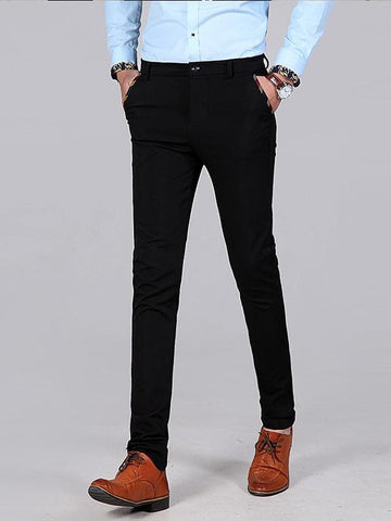 Men's Basic Dress Pants Chinos Pants - Solid Colored Black Navy Blue 30 / 31 / 32 - FLJ CORPORATIONS