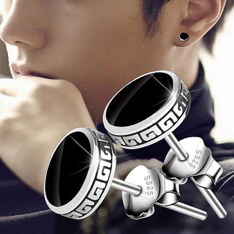 Men's Stud Earrings Magic Back Earring Vintage Style Vintage Rock Silver Plated Earrings Jewelry Black For Daily Street 1 Pair - FLJ CORPORATIONS