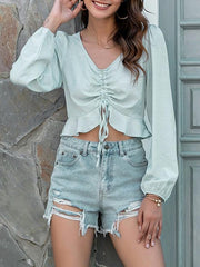 Women's Crop Top Solid Colored Long Sleeve V Neck Tops Basic Top Light Blue
