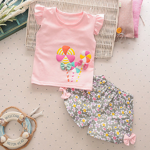 Baby Girls' Casual Active Daily Going out Sun Flower Floral Print Short Sleeve Regular Clothing Set Yellow / Toddler