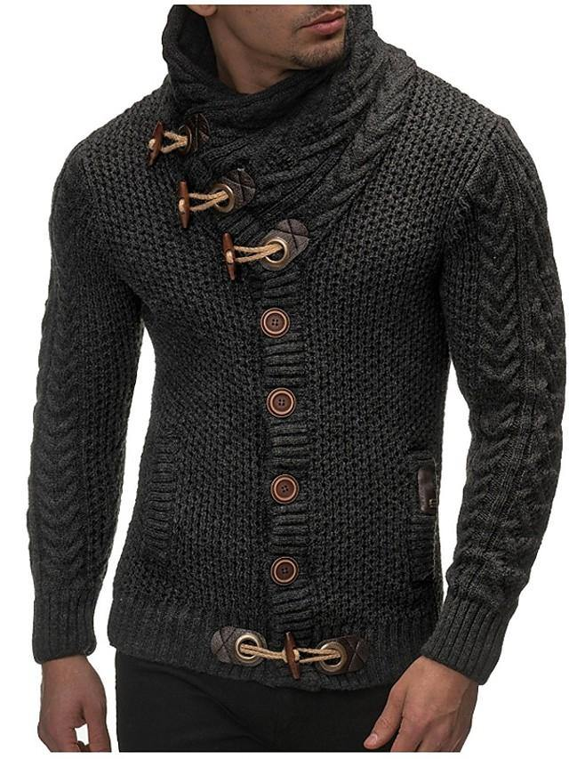 Men's Solid Colored Cardigan Long Sleeve Slim Regular Sweater Cardigans Turtleneck Fall Winter Black Dark Gray Brown / Weekend