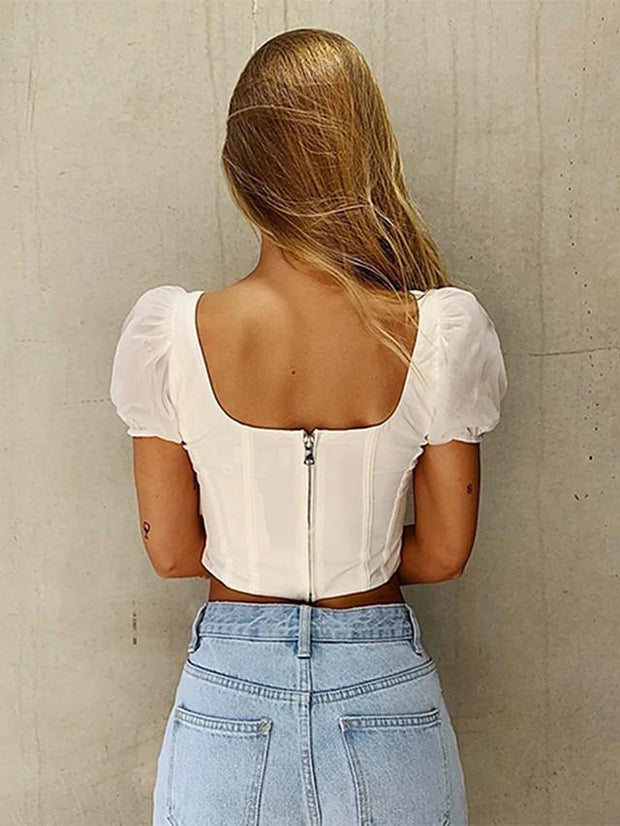 Women's Crop Top Solid Colored Backless Mesh Square Neck Tops Sexy Streetwear Basic Top White