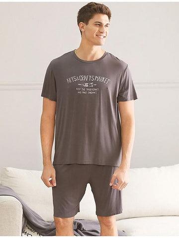 Stay Cation Men's Suits Nightwear Black Brown Light gray L XL XXL