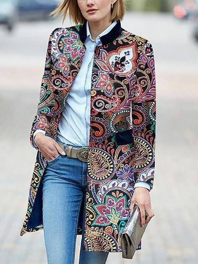 Women's Stand Collar Fall & Winter Coat Long Houndstooth Daily Basic Print Rainbow L XL XXL 3XL