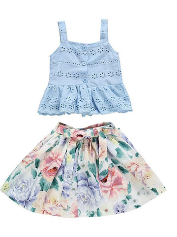 Baby Girls' Basic Floral Sleeveless Regular Clothing Set Light Blue / Toddler