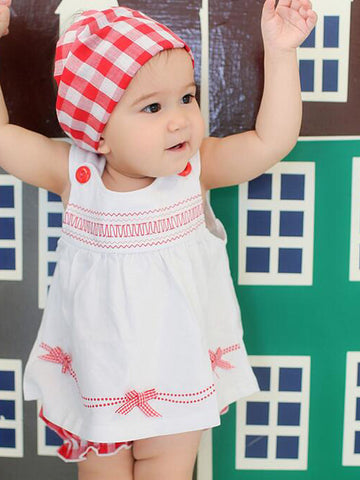 Baby Girls' Casual Daily Geometric Sleeveless Clothing Set White