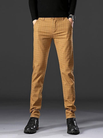 Men's Basic Dress Pants Chinos Pants - Plaid / Checkered Classic Black Khaki Navy Blue 29 / 30 / 31 - FLJ CORPORATIONS