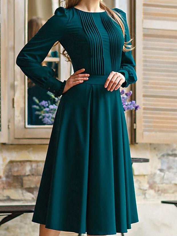Women's A-Line Dress Knee Length Dress - Long Sleeve Solid Color Ruched Patchwork Spring Summer Casual Daily Lantern Sleeve Loose Green S M L XL XXL