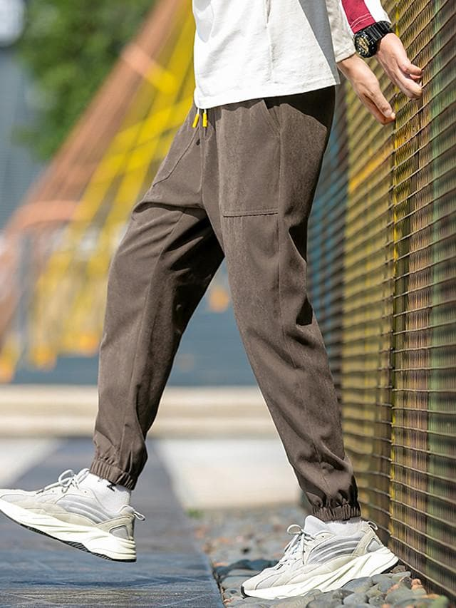 Men's Sporty Street chic Daily Weekend Chinos Cargo Pants - Plaid / Checkered Solid Colored Drawstring Breathable Black Army Green Fuchsia US32 / UK32 / EU40 / US34 / UK34 / EU42 / US36 / UK3