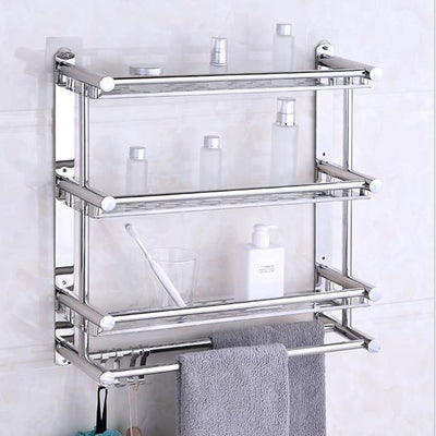 Floating Shelves With Towel Bar 3 Layers Premium SUS 304 Contemporary Stainless Steel 1pc Wall Mounted