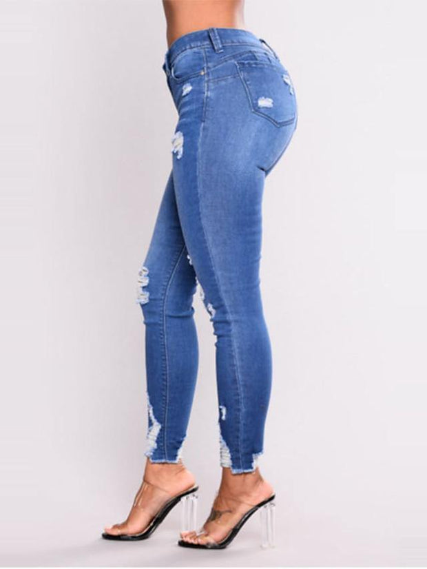 Women's Basic Daily Jeans Pants Solid Colored Cut Out Quick Dry Blue S-3LX