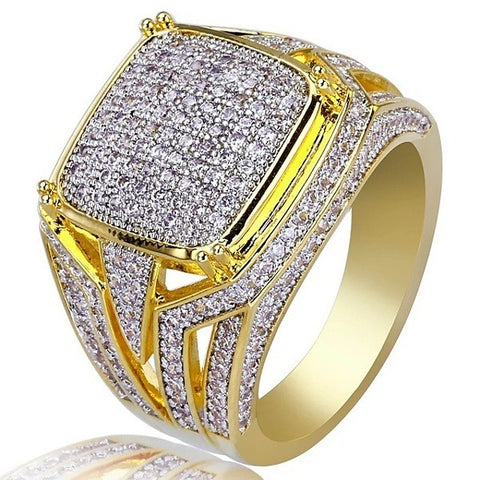 Men's Ring Signet Ring Cubic Zirconia 1pc Gold Copper Rhinestone Geometric Stylish Luxury Hip Hop Wedding Party Jewelry Classic Cool - FLJ CORPORATIONS