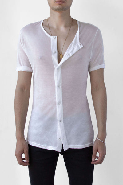 BEAU AIR BUTTON UP TEE - CLOUD