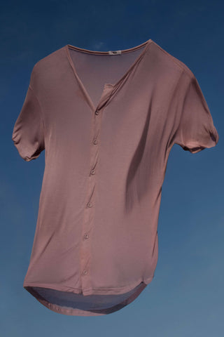 BEAU AIR BUTTON UP TEE - ROSE