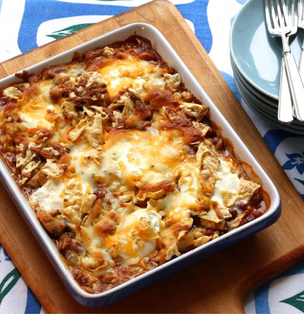 Chicken Enchilada Bake with Crispy PopCorners Topping