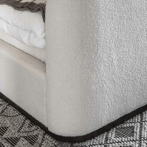 Avery textured upholstered cream bed