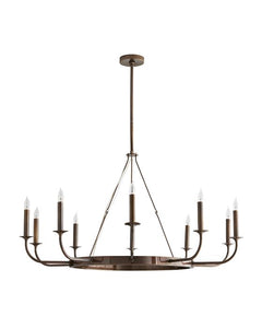 Berlin Hollywood Regency Steel Round Candle Chandelier
