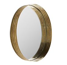 Load image into Gallery viewer, Anna Antique Brass Iron Ribbed Mirror