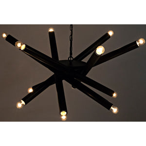 Lex Abstract Black Metal Chandelier