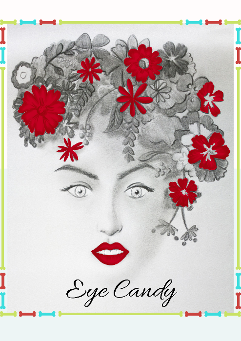 "Girl's Face Wall Art Poster - ""Eye Candy"" in Red"