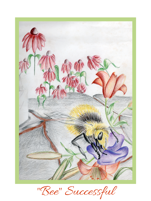 """Bee"" Successful Wall Art - Bumble Bee Color Pencil Sketch"