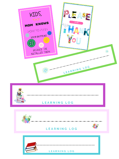 Wall Art & Learning Logs Bundle, 34 pages