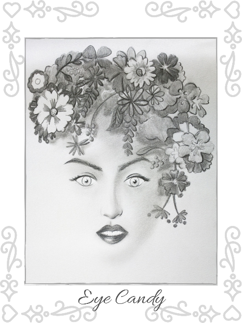 "Girl's Face Wall Art Pencil Sketch Poster - ""Eye Candy:"""