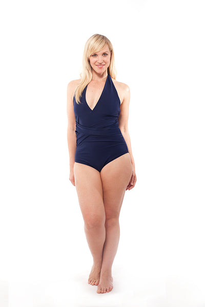 Carmen in Navy Blue - The perfectly shirred halter one-piece bathing suit