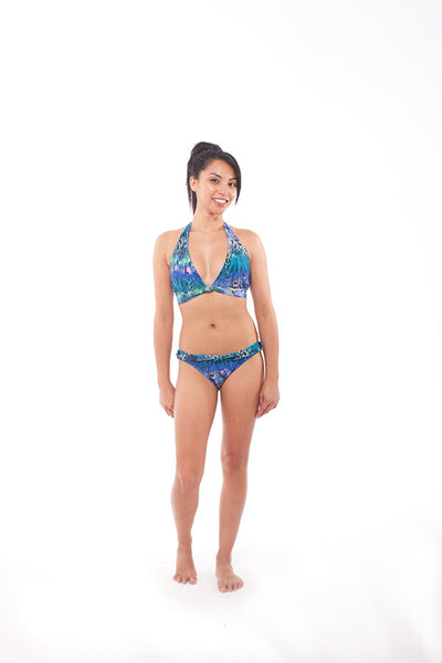 Chica Chica Boom Chic top in Peacock print - A classic halter bikini top with a twist