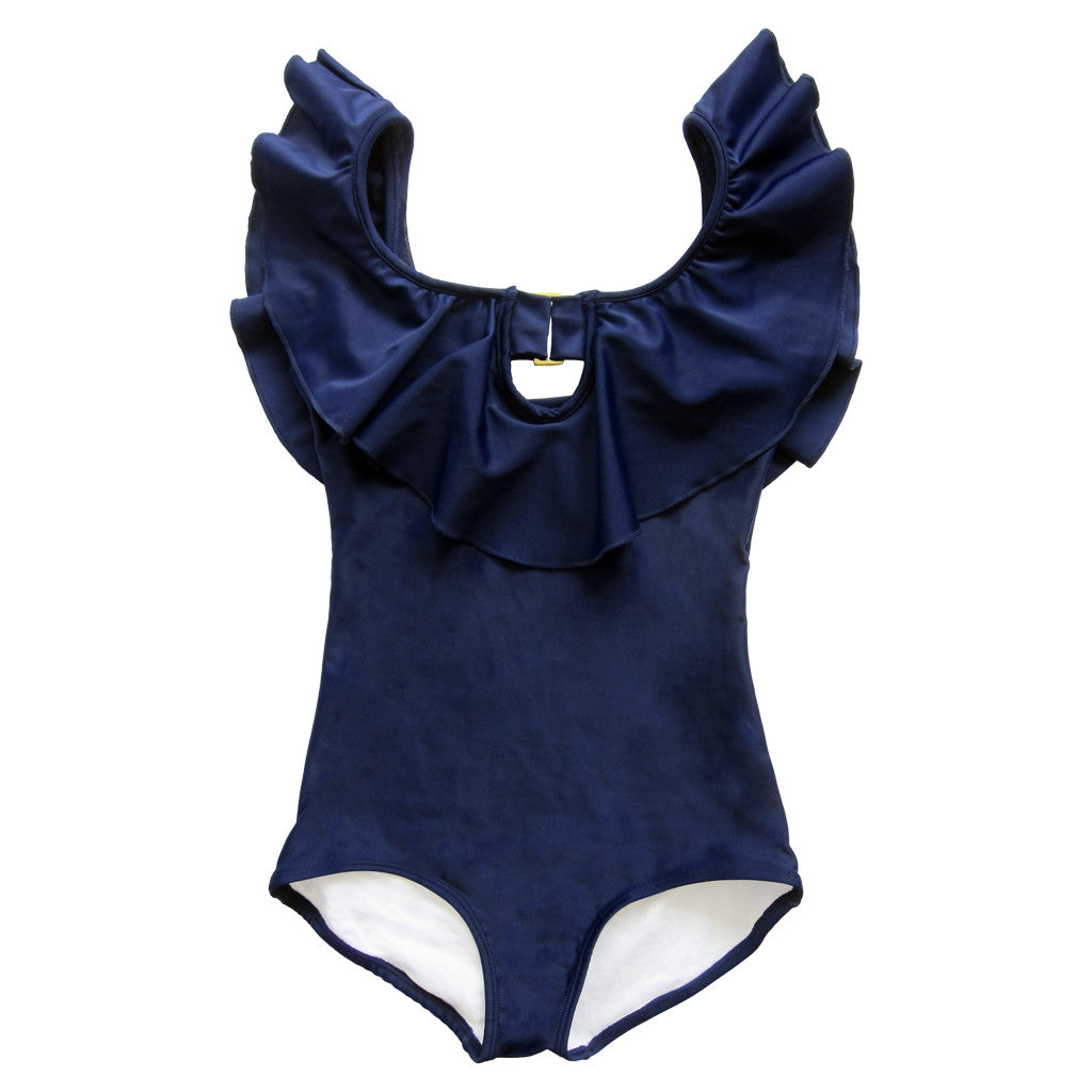 Summer Samba in Navy Blue – A glamorous ruffled one-piece swimsuit for sand and sea