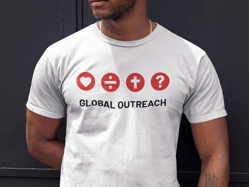 Man wearing Global Outreach 2020 Adult T-Shirt