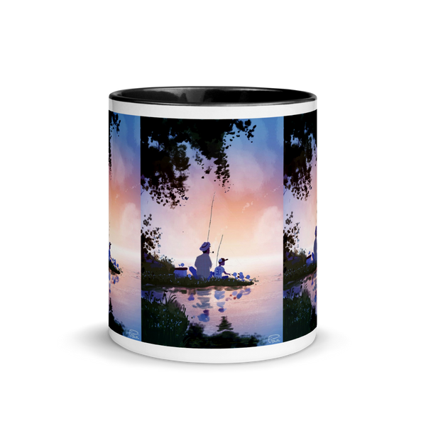 Mug with Color Inside Dad& Child fishing time