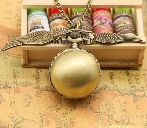 Cosplay Golden Wings Snitch Toy Watch Quartz Pocket Watch Necklace Quidditch Balls Snitch Necklace Toys Fly Thief