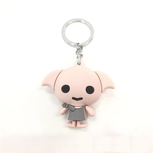 3D Harri Potter PVC Keychain Toy Dobby Hermione Granger Malfoy Ron Weasley Snape Action Figure Toys Party Cosplay PVC Key Ring