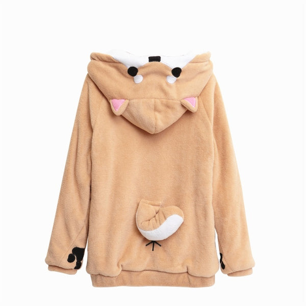Shiba Inu Doge Kawaii lovely Velvet Long-sleeved Hooded Plush Coat Cartoon Anime Style Warm lady Winter Sweatshirt Christmas