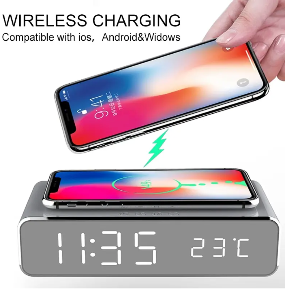 LED Digital Clock with Wireless Charger and Thermometer