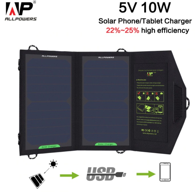 ISOLAR 10W 5V Solar Portable Charger