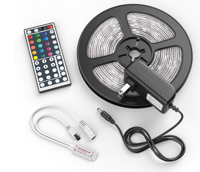 5M LED Strip Light SMD 5050 RGB+44 Key Remote(Include Battery)+Power Adapter