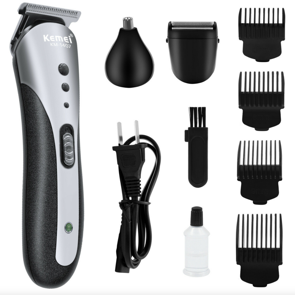 Electric Men Hair Clippers 9 PCS Multifunctional Hair Cutting Kit Shaving Clipper