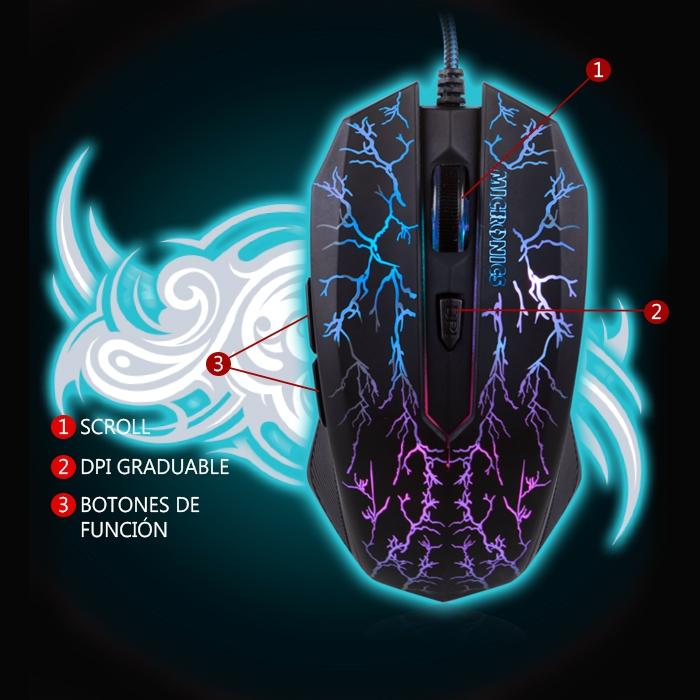 Mouse Optico Micronics MIC M662 Gamer con Luces LED USB