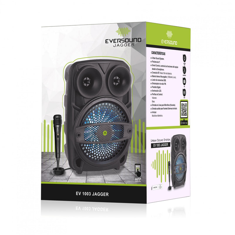 Sistema De Audio Eversound EV 1003-V 70W Con Microfono y Bateria Interna