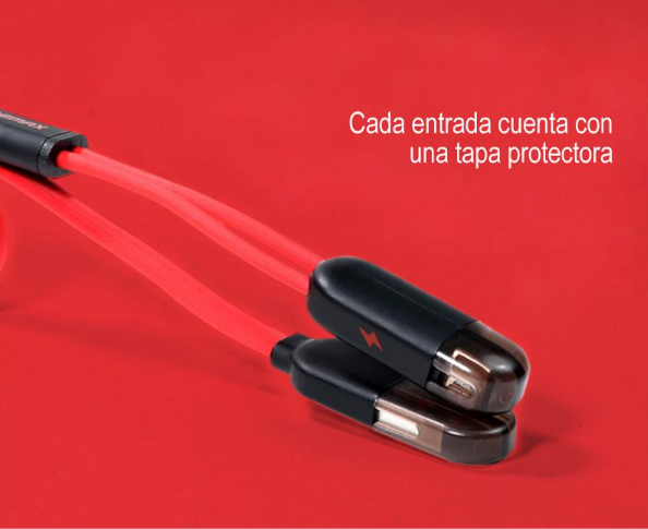 Cable Remax USB 2 en 1 para iPhone y Android / Lightning y Micro USB