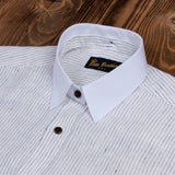 Pike Brothers 1923 Buccanoy Shirt White Blue Linen
