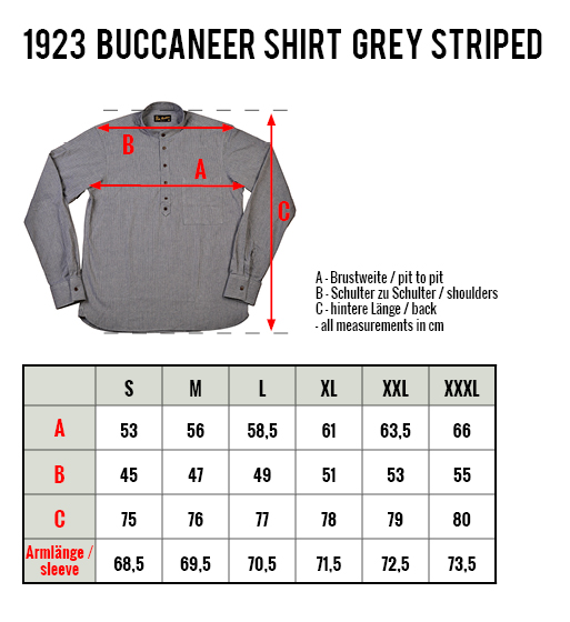 Pike Brothers 1923 Bucaneer Shirt Grey Striped
