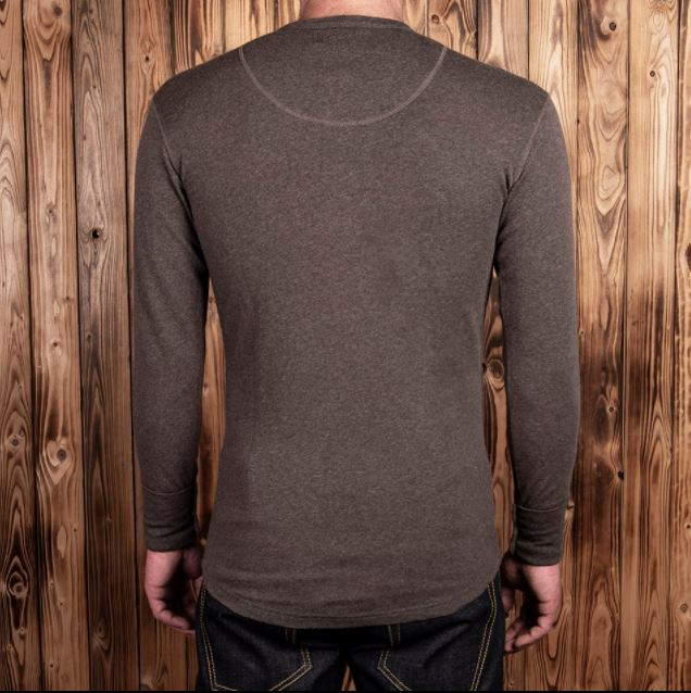 Pike Brothers 1927 Henley Shirt long sleeve brown melange