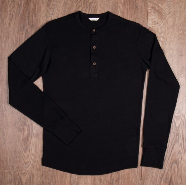 Pike Brothers 1927 Henley Shirt long sleeve faded black