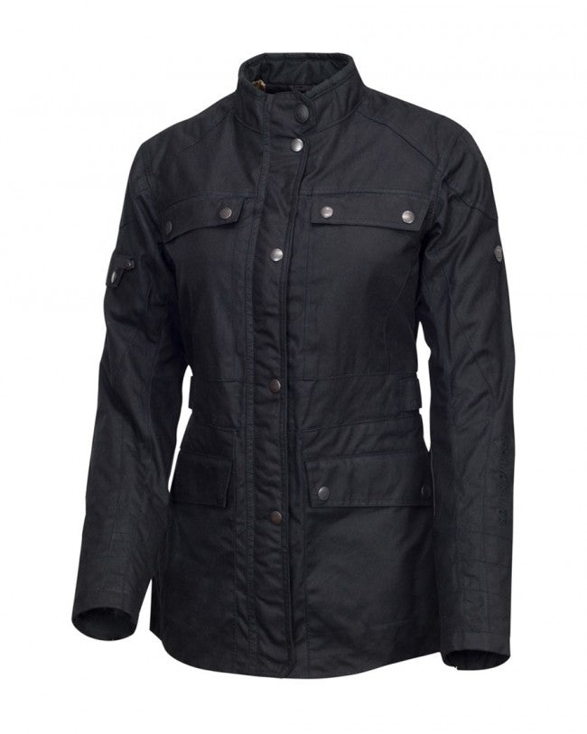 Roland Sands Ginger Damen Motorradjacke Waxed Cotton schwarz