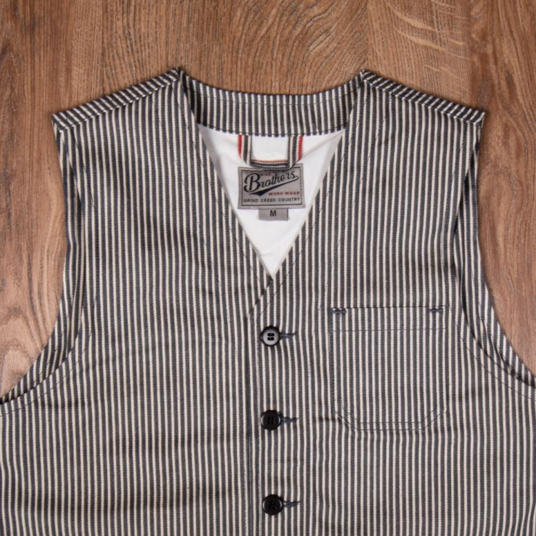 Pike Brothers 1937 Roamer Vest Hickory Stripes Grey