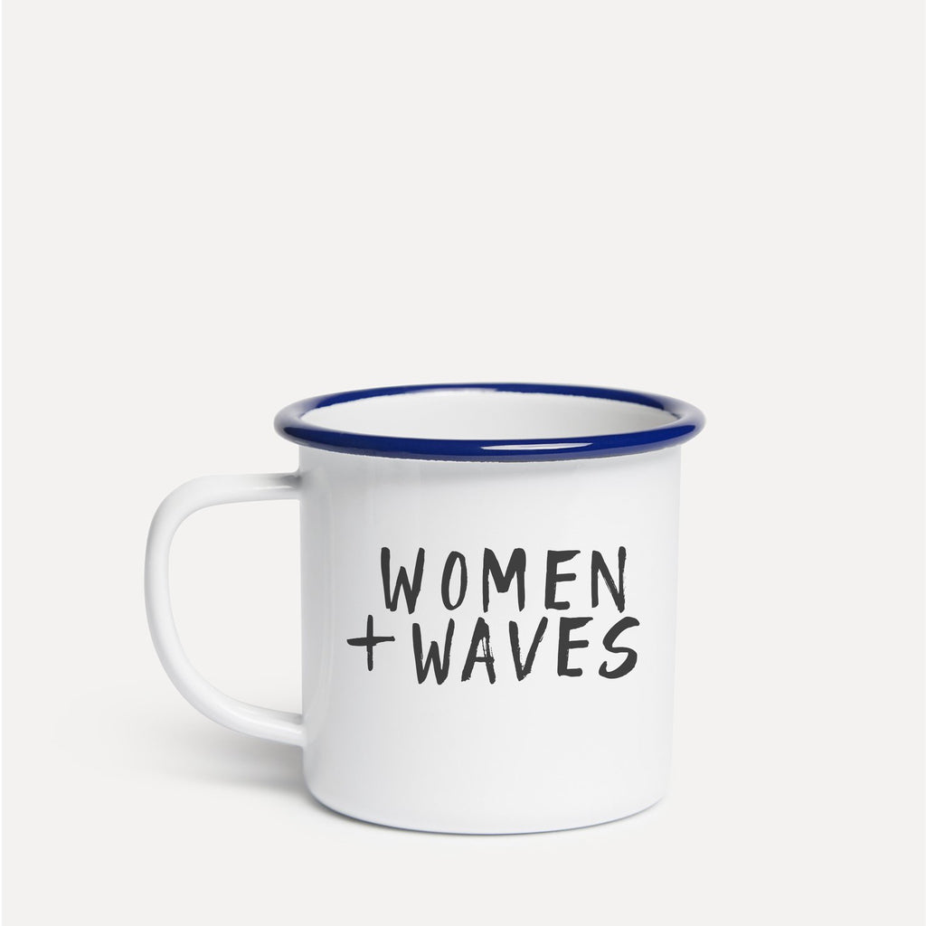 Stacked Logo Enamel Mug - White / Deep Sea Blue